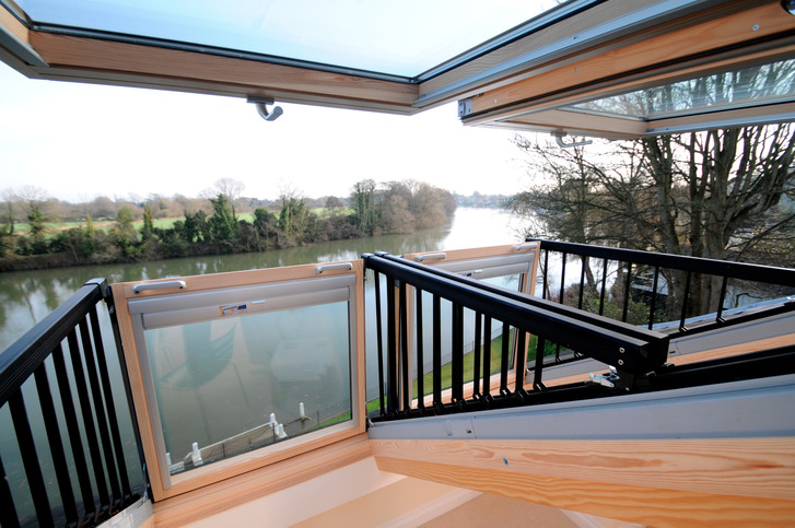 Cabrio Balcony Velux roof window in loft conversion, Thames