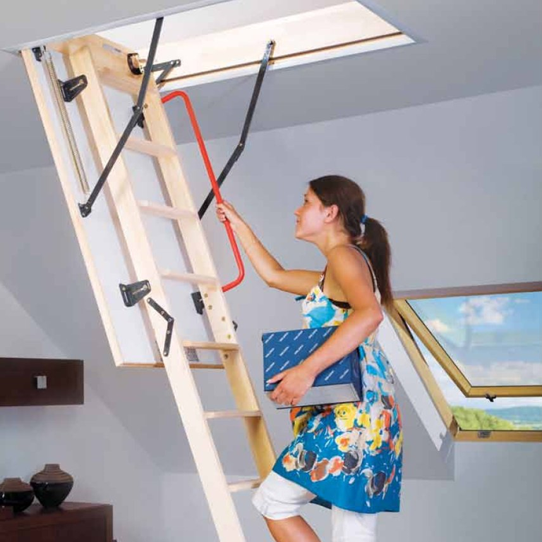 two section sliding timber loft ladder