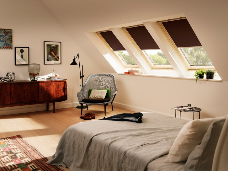 Velux roof window with black out blinds