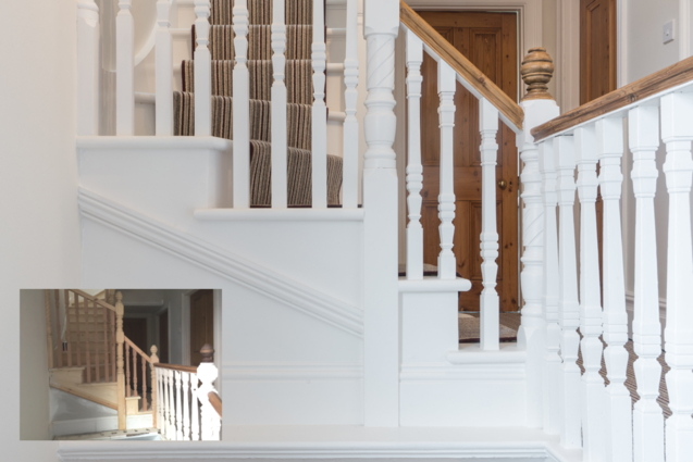 Refurbed traditional staircase with balustrades, Maidenhead